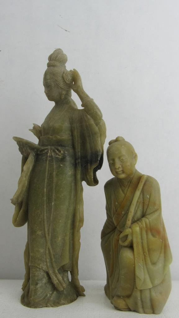 Pair Very Old Soap Stone Chinese Statue - 6