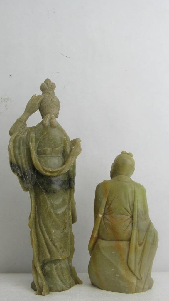 Pair Very Old Soap Stone Chinese Statue - 7