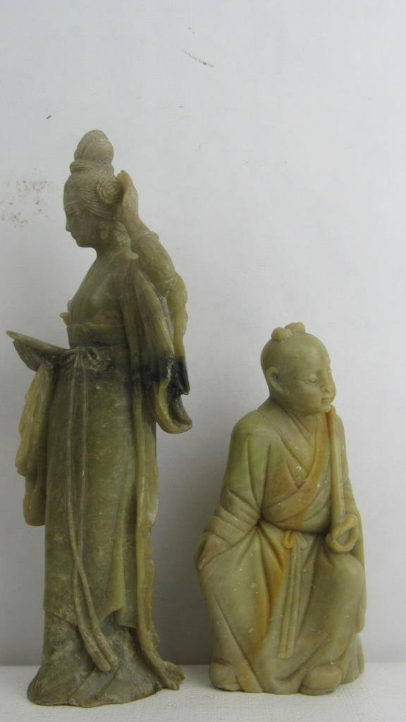 Pair Very Old Soap Stone Chinese Statue - 8