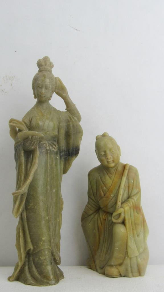 Pair Very Old Soap Stone Chinese Statue - 9