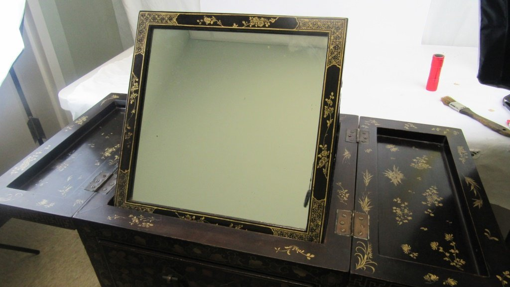 Chinese Export Black Laquer Dressing Table - 3