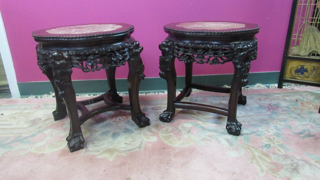Pair of 19th Century Chinese Carved Rosewood Stand