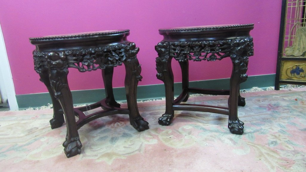 Pair of 19th Century Chinese Carved Rosewood Stand - 2