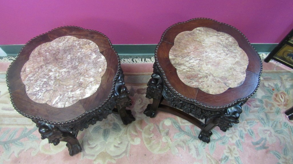 Pair of 19th Century Chinese Carved Rosewood Stand - 4