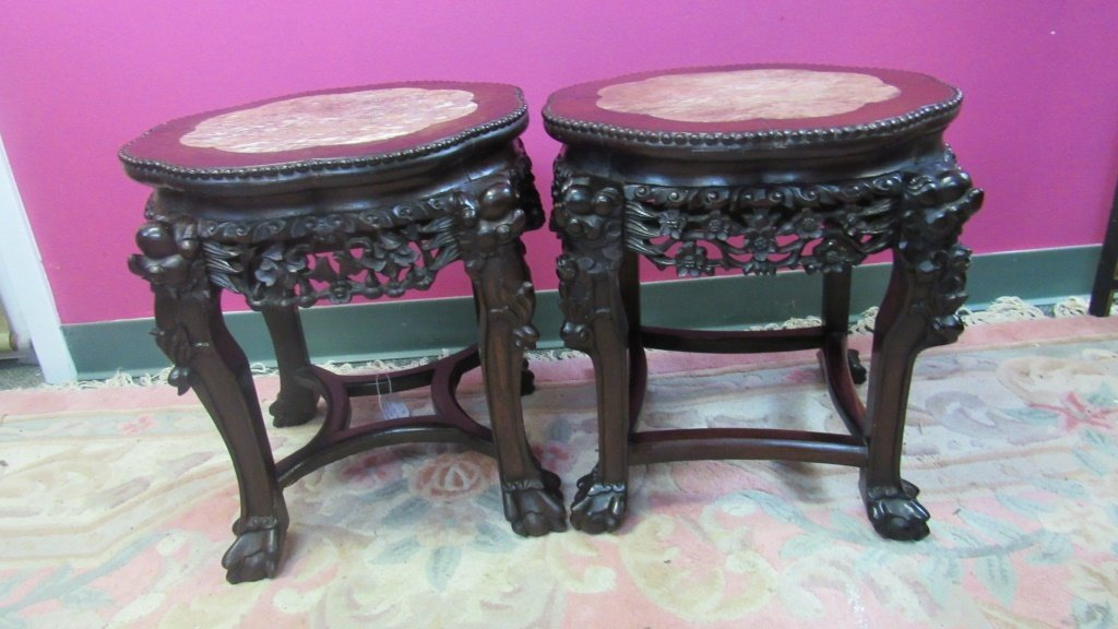 Pair of 19th Century Chinese Carved Rosewood Stand - 5