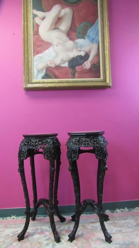 Pair of 19th Century Chinese Carved Marble Rosewoo - 4