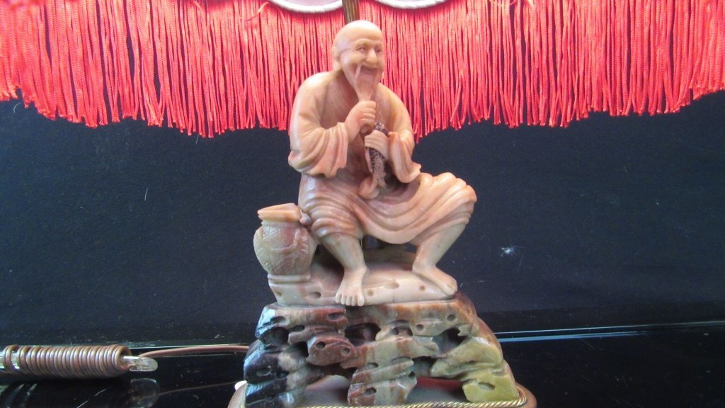 Qing Dynasty Soapstone Statue Lamp
