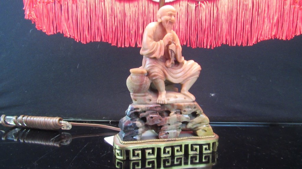 Qing Dynasty Soapstone Statue Lamp - 5