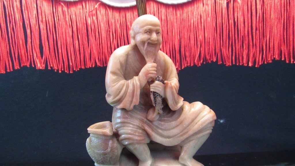 Qing Dynasty Soapstone Statue Lamp - 7