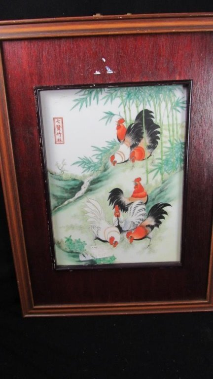 Painting of Roosters Feeding