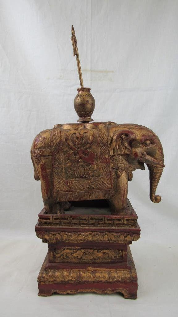 Qing Dynasty Elephant Gold filed Wood Statue