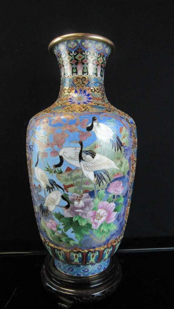 Cloisonne Vase with Cranes and Peonies Design