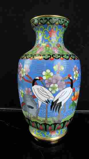 Chinese Cloisonne Faceted Vase with Cranes