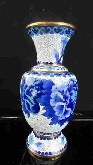White and Blue Cloisonne Vase