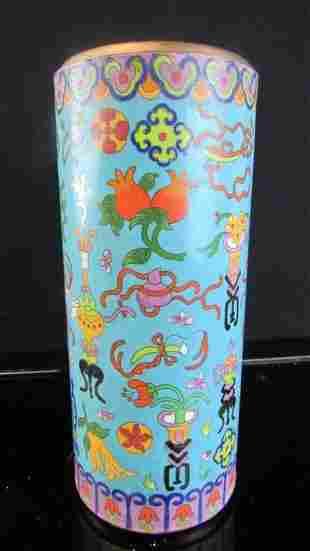 Chinese Cloisonne Cylindrical Vase