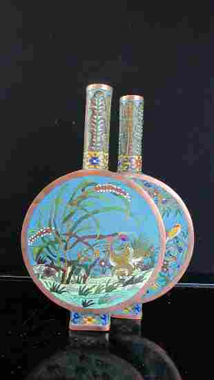 Chinese Cloisonne Double Flat Teapot