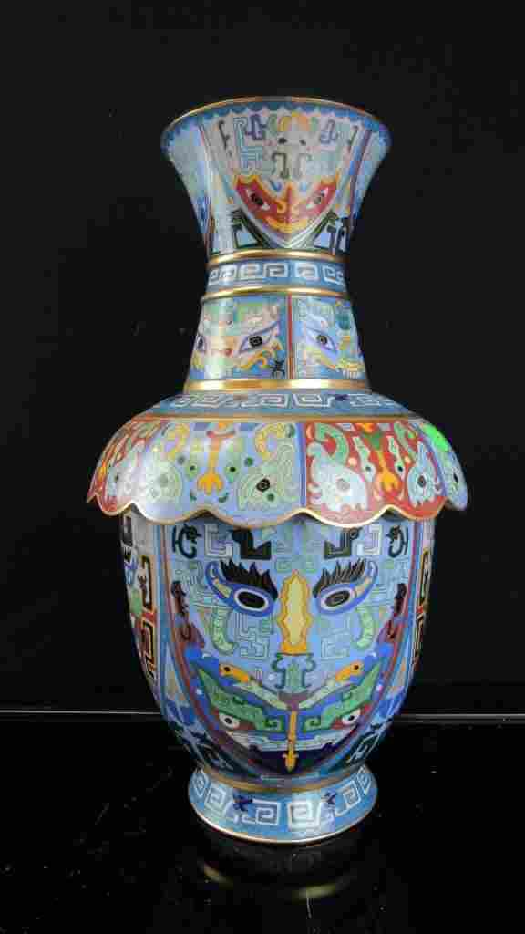 Chinese Cloisonne Vase with Many Faces