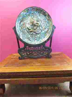 Large Chinese Cloisonne Dragon Plate & Wood Stand