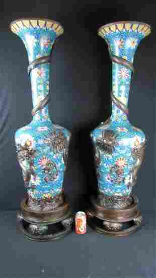 Pair of Large Chinese Cloisonne Dragon Vases