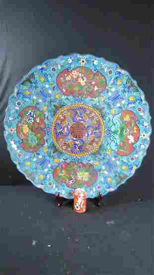 Qing Dynasty Blue Cloisonne Plate