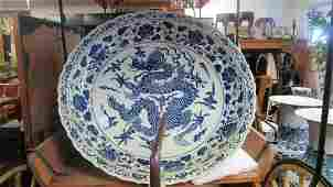 Very Old White/Blue Huge Porcelain Dragon Plate