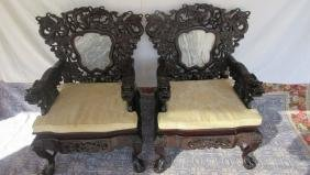 Pair of Zitan Wood Dragon Chairs