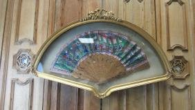 Very Old Chinese Fan in Display Case