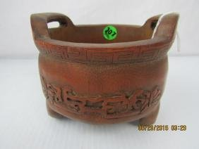Hand Carved 19th Century Bamboo Incense Burner