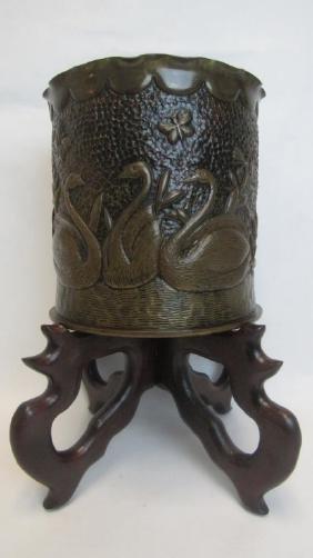 European German Bronze Swan Vase