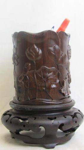 Carved Rosewood Brush Holder