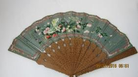 Chinese Painted Incense Wood Fan
