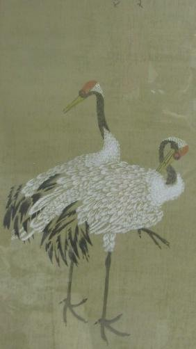 Watercolor Painting of Two Cranes
