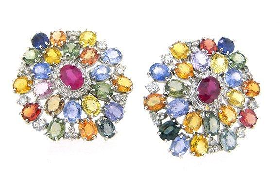 33.27ct.tw Multi Color Sapphire Earrings 18K