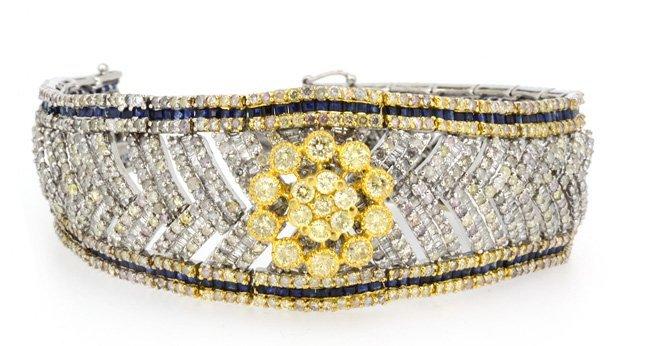 8.05ct.tw Blue Sapphire Bracelet 18K