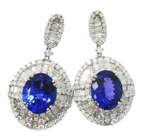 8.87ct.tw Oval Tanzanite Earrings 18K