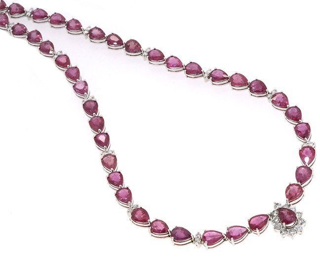 61.95ct. Pear Shape Rubies Necklace 18K