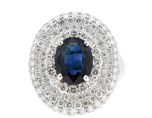 3.22ct. Oval Sapphire Ring 18K