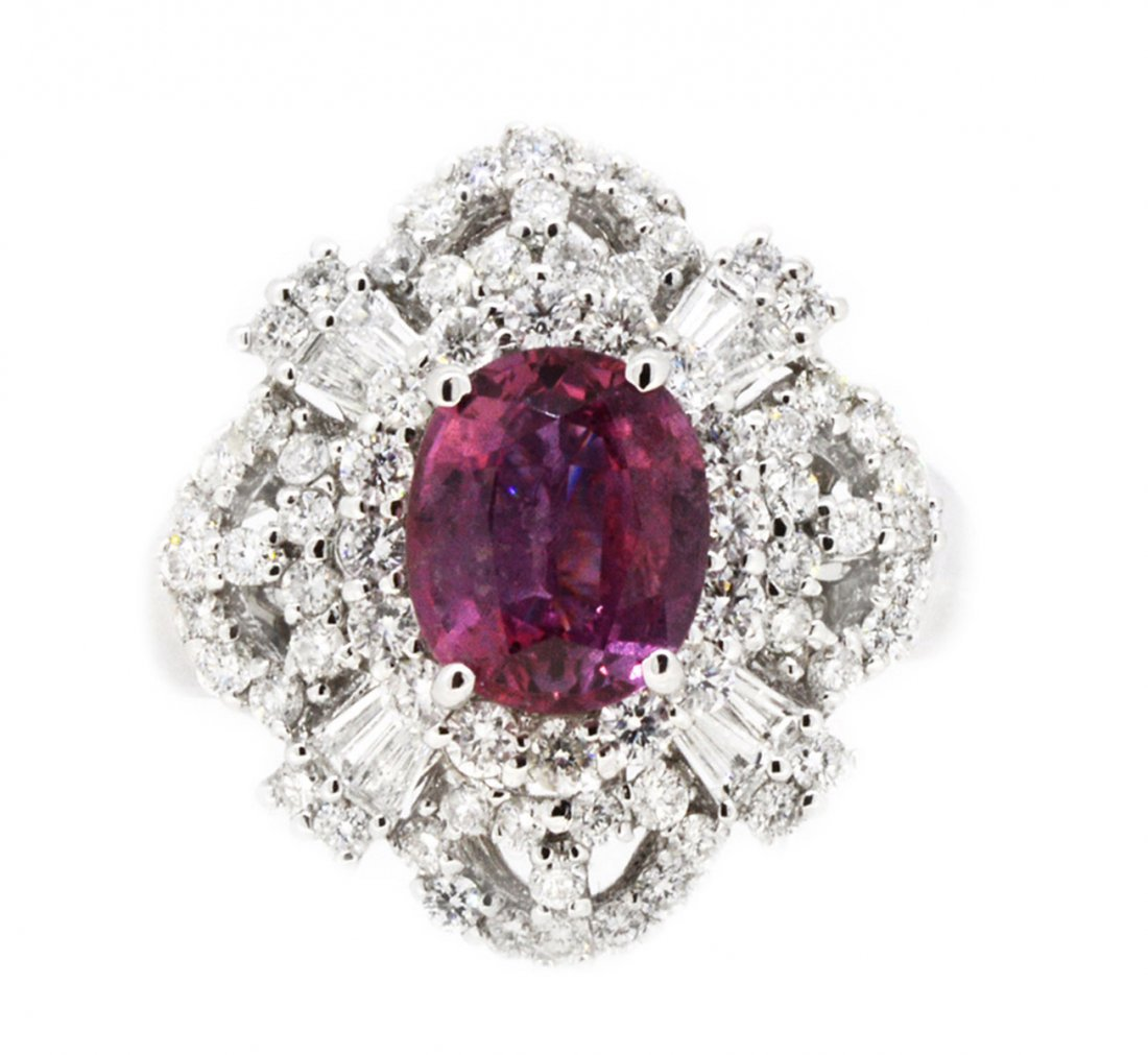 2.43ct. Center Pink Sapphire Ring 18K
