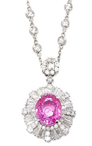 5.02ct. Center Pink Sapphire Pendant 18K-GIA
