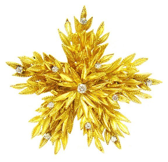 .45ct. Diamond Brooch Pin Flower 18K