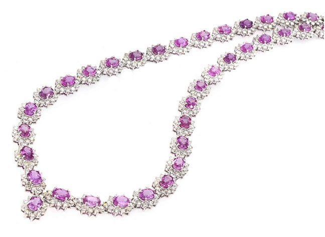 32.02ct. Pink Sapphire Necklace 18K