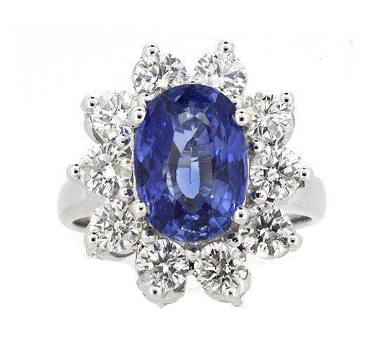 4.11ct. Center Blue Sapphire Ring 18K-GIA