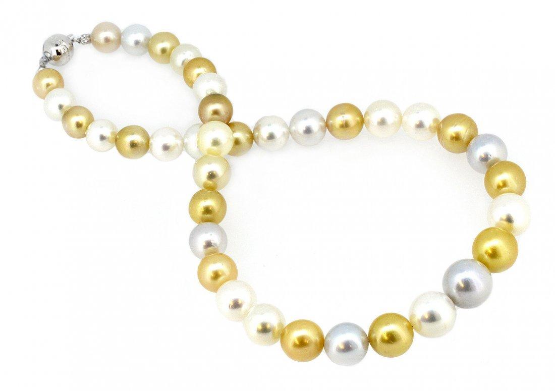 Multi Color Pearl Necklace 18K Gold Clasp