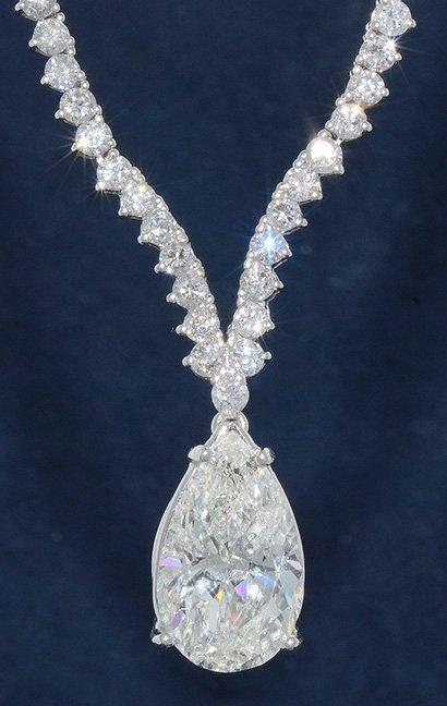 4.72ct. Pear Shape Solitaire Brilliant Diamond Necklace