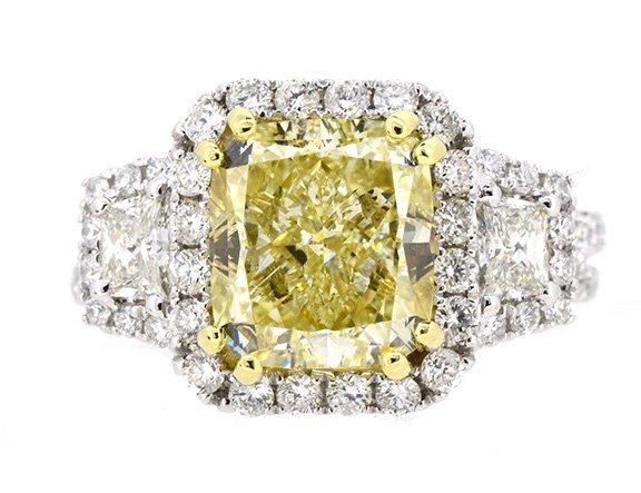 4.02ct. Center Fancy Yellow Cushion Diamond 18K-EGL