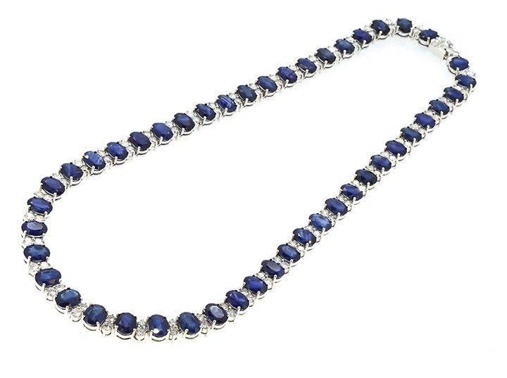 66.61ct.tw Blue Sapphire Necklace 18K