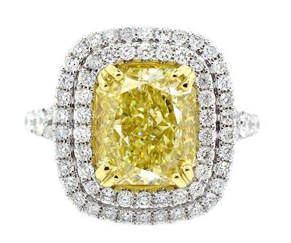 5.00ct. Fancy Intense Yellow Diamond Ring 18K-GIA VS1