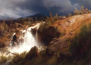 A Mountain Torrent By Hermann Herzog (1831-1932)