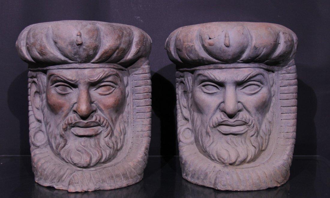 Couple of terracotta stools. - Coppia sgabelli in terr.