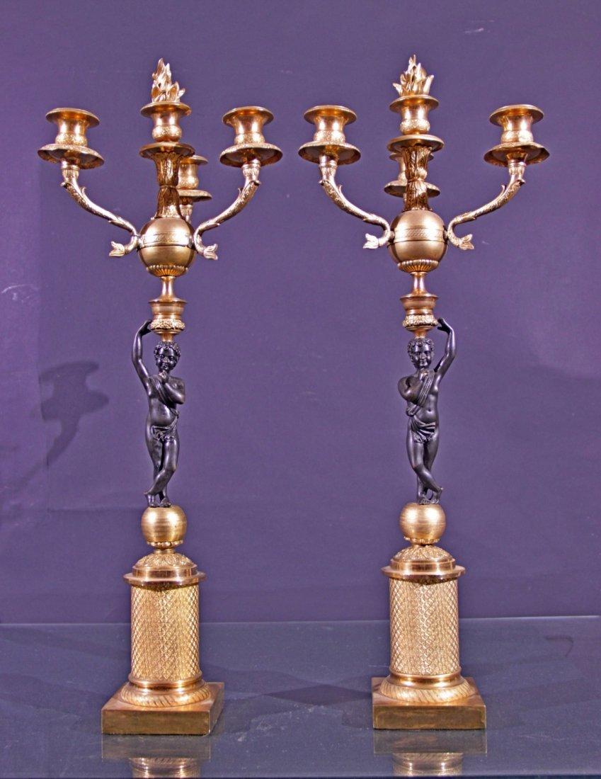 Couple gilt  bronze candelisticks - Coppia candelieri